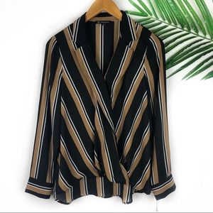 INC International Concepts Faux Wrap Blouse NEW